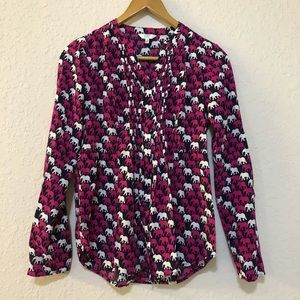 CROWN & IVY elephant print pink button up top